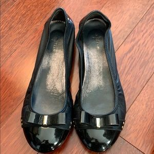 Cole Haan Sz 8 Black Leather Ballet Flats w/ Bow